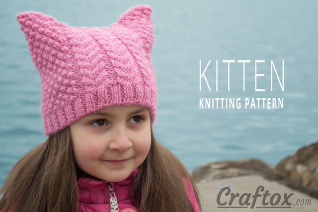 "Aran (cables) cat ear beanie ""Kitten"" free knitting pattern."