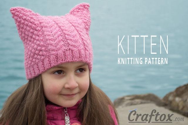 """Aran (cables) cat ear beanie """"Kitten"""" free knitting pattern."""