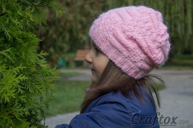 Basic knit slouchy beanie. Free pattern.