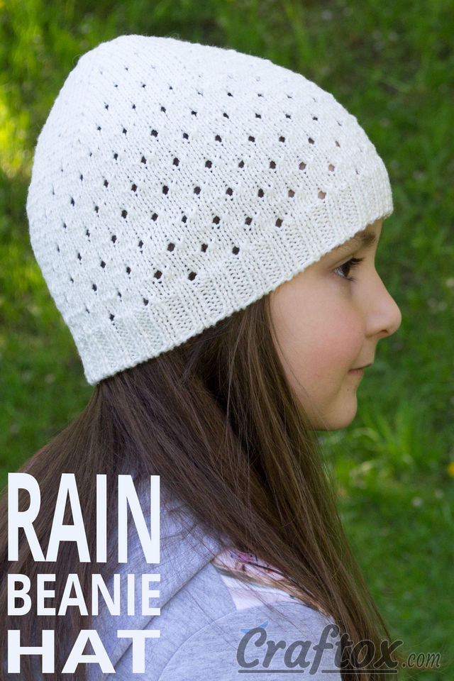 "Beanie hat ""Rain"". Free knitting pattern."