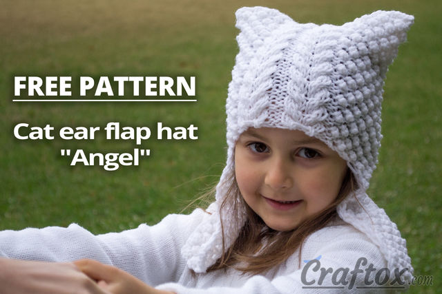 Cat ear flap hat Angel free knitting pattern