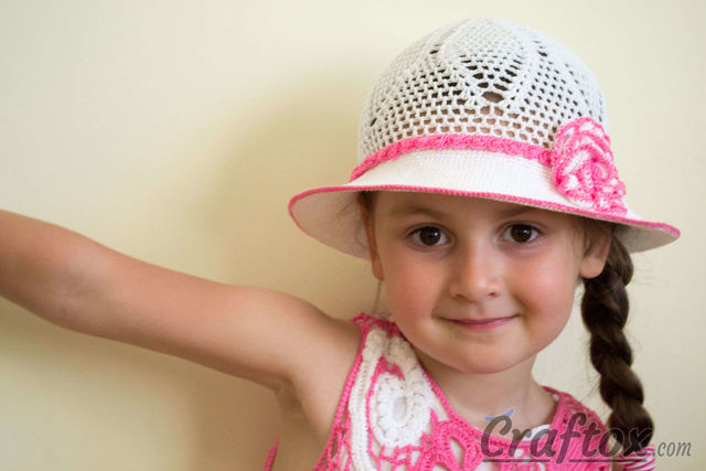Free Crochet Hat Patterns For 1 Year Old : Crochet white hat for 4-5-year-old girl. Free pattern.