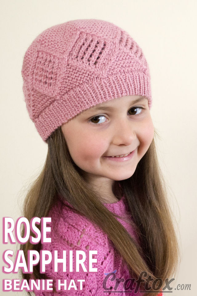 "Diamond texture beanie hat ""Rose Sapphire"". Free knitting pattern."
