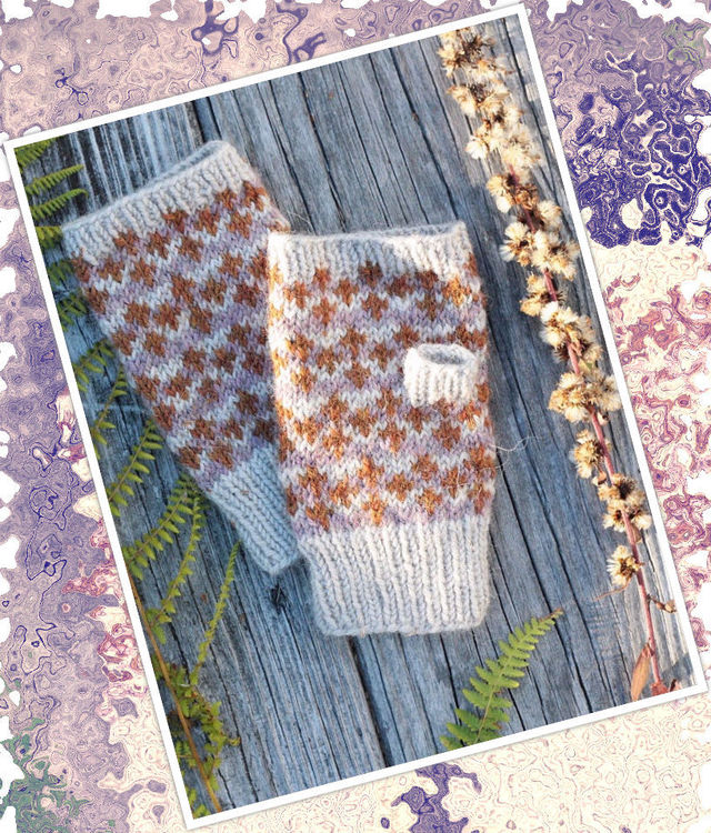 Girls and women's knit fingerless gloves (mitts) Cloudberry. Free pdf pattern (Colorwork: stranded).