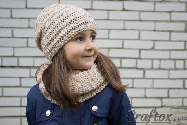 "Hat and cowl set ""Kari"". Knitting pattern for beginners."