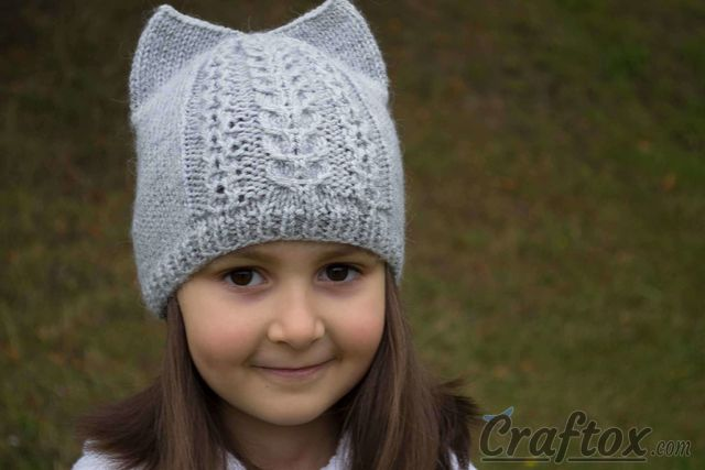 Knit cat ear hat. Free pattern with chart.