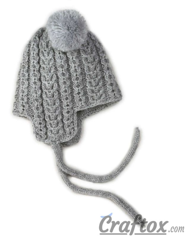 Knitting Winter Hat With Pom Poms For Kid Free Pattern