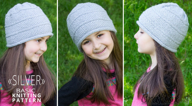 """Silver"" beanie. Free basic knitting pattern."
