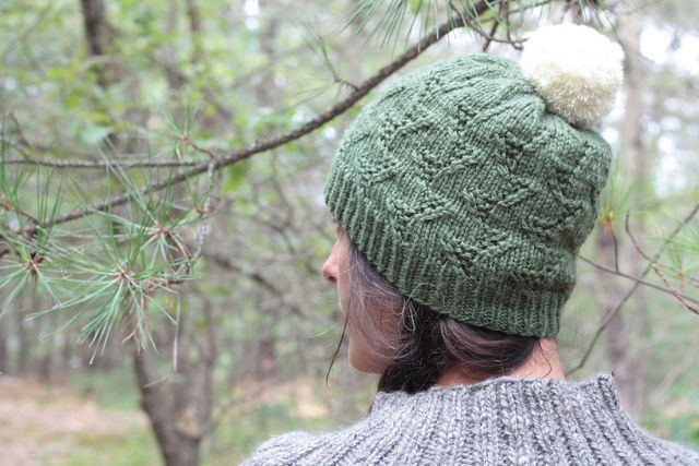 Unisex (adult, teen) knit beanie Tributary. Free download pdf pattern (textured).